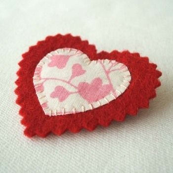 They make a great gift for valentines. Or you could make one for yourself to brighten up a jacket or cardigan. Alternatively you could make a batch of them to use as favors at an eco-themed wedding.  .  Free tutorial with pictures on how to make a fabric brooch in 8 steps by needleworking, sewing, and sewing with fabric, felt, and fabric glue. Inspired by weddings, vintage & retro, and hearts. How To posted by pouch. Difficulty: Simple. Cost: Absolutley free.