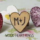 Woodburned Heart Rings