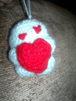 Aww! .  Make a charm / keyring in under 60 minutes by crocheting and amigurumi with yarn, crochet hook, and stuffing. Inspired by valentine's day, creatures, and kawaii. Creation posted by HotPinkCrayola. Difficulty: Simple. Cost: Absolutley free.