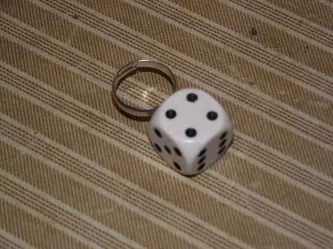 Roll a six to start! .  Make a dice ring in under 5 minutes by jewelrymaking with ring base and dice. Inspired by clothes & accessories. Creation posted by Georgia . Difficulty: Easy. Cost: Absolutley free.