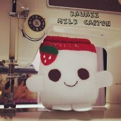 Kawaii Strawberry Milk Carton Plushie
