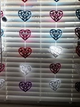My heartfelt curtain.. .  Make a curtain/blinds in under 10 minutes using felt and string. Inspired by valentine's day and hearts. Creation posted by cookie80. Difficulty: Easy. Cost: Cheap.