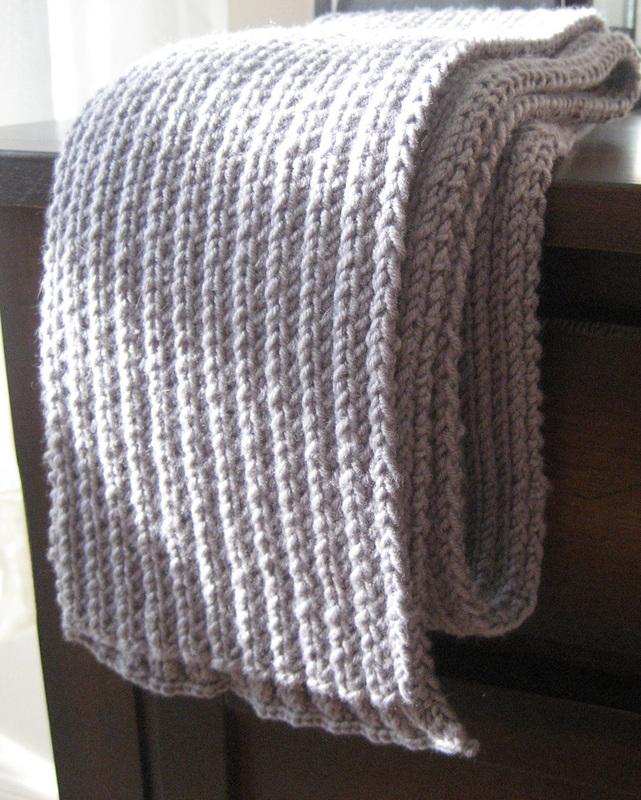 Knitting Rib Stitch Scarf : Basic ribbed scarf � how to stitch a rib