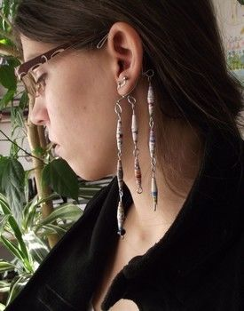 A twist to the regular ear-related jewellery.. :D .  Make a set of paper earrings in under 40 minutes by jewelrymaking with beads and wire. Inspired by clothes & accessories. Creation posted by Fruzsina W. Difficulty: Simple. Cost: Absolutley free.