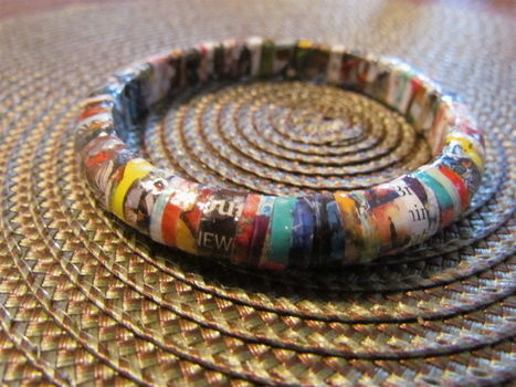 Easy one-of-a kind bangle .  Make a recycled bracelet in under 120 minutes by decoupaging with decoupage glue, magazine, and bangles. Inspired by clothes & accessories. Creation posted by Anne S. Difficulty: Easy. Cost: Absolutley free.