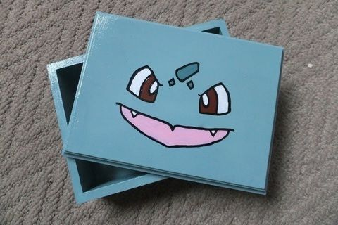 BULBA-SAUR! .  Paint a painted box in under 90 minutes by decorating with acrylic paint, wooden box, and spray varnish. Inspired by pokemon. Creation posted by JossieAyame. Difficulty: Easy. Cost: Cheap.