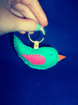 A Felt Bird Keyring. .  Make a fabric animal charm in under 30 minutes by creating, jewelrymaking, needleworking, embroidering, sewing, patchworking, and dressmaking with felt, thread, and stuffing. Inspired by halloween, valentine's day, and vintage & retro. Creation posted by Eleanor. Difficulty: Easy. Cost: Absolutley free.