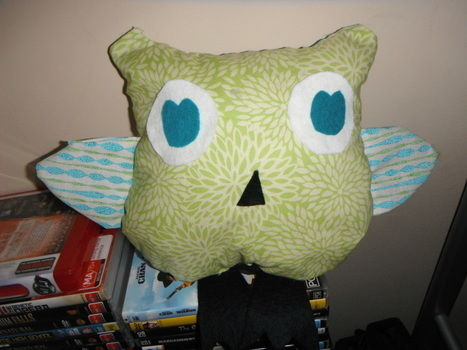 A little owl that I made. .  Make a bird plushie in under 120 minutes by needleworking with fabric, felt, and fabric glue. Inspired by owls and owls. Creation posted by Jenna B. Difficulty: Simple. Cost: Cheap.