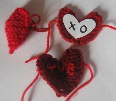 Knitted heart .  Free tutorial with pictures on how to make a shape plushie in under 30 minutes by needleworking, embroidering, yarncrafting, knitting, and dressmaking with yarn and knitting needles. Inspired by valentine's day, hearts, and hearts. How To posted by Mette B. Difficulty: Simple. Cost: Absolutley free. Steps: 2