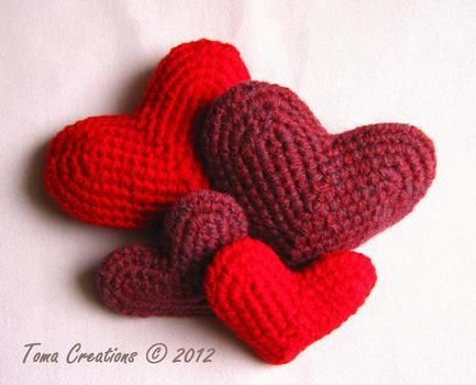 A crafty and cozy way to show and share love on Valentines day or to make any day special <3 .  Free tutorial with pictures on how to make a shape plushie in under 60 minutes by crocheting with yarn and crochet hook. Inspired by valentine's day, hearts, and hearts. How To posted by Toma Creations. Difficulty: Simple. Cost: Cheap. Steps: 3