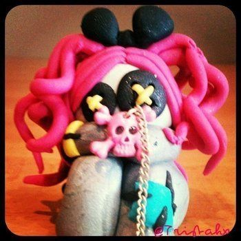 The sad lil plushie .  Mold a clay character in under 45 minutes by baking and decorating with fimo. Inspired by creatures. Creation posted by Tristahx.  in the Decorating section Difficulty: 3/5. Cost: Cheap.