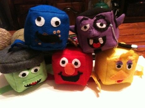 Adorable little creatures to love forever .  Make a shape plushie by sewing with felt, thread, and stuffing. Inspired by cubes. Creation posted by Jessica R. Difficulty: Easy. Cost: Absolutley free.