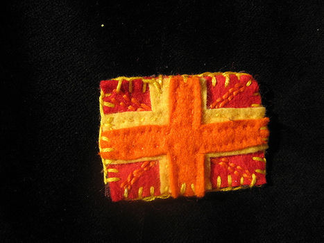 Sunburst Union Jack Brooch .  Make a fabric brooch in under 60 minutes by embroidering and sewing with fabric, felt, and embroidery thread. Inspired by british. Creation posted by Arty Kitkat. Difficulty: Easy. Cost: Absolutley free.
