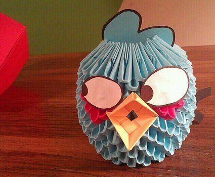 Because splitting into three birds - is AWESOME! .  Fold an origami bird by papercrafting, paper folding, and paper folding with paper. Inspired by angry birds. Creation posted by Lanie V. Difficulty: Easy. Cost: Absolutley free.