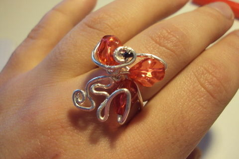 A simple yet elaborate ring made of wire and beads .  Make a wire ring in under 15 minutes by wireworking with beads, wire, and wire. Creation posted by Juliet J. Difficulty: Simple. Cost: No cost.