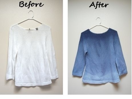 Give a sweater a whole new look by dip-dyeing it .  Free tutorial with pictures on how to dye a dyed sweater in under 120 minutes by dyeing with water, salt, and safety pins. How To posted by Rachel J. Difficulty: Easy. Cost: Cheap. Steps: 5
