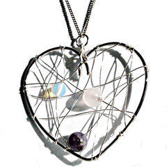 Wire Wrapped Heart With Healing Crystals