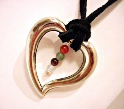 Cute heart necklace strung with fertility crystals .  Make a metal pendant in under 30 minutes by beading and jewelrymaking with wire, clasps, and cord. Inspired by valentine's day, kawaii, and hearts. Creation posted by Feisty Fidget. Difficulty: Easy. Cost: Cheap.