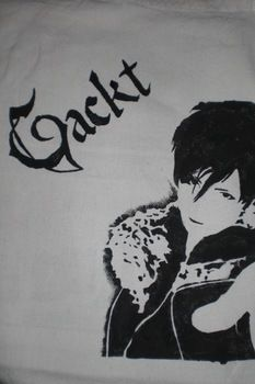 Gackt tote bag stencil .  Paint a painted tote in under 20 minutes by stencilling and decorating with fabric paint, stencil, and tote bag. Inspired by clothes & accessories. Creation posted by Kathi. Difficulty: 4/5. Cost: Cheap.