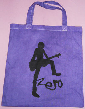 D'espairsRay Bass Zero .  Paint a painted tote in under 40 minutes by screen printing, stencilling, and decorating with fabric paint, stencil, and tote bag. Inspired by clothes & accessories. Creation posted by Kathi. Difficulty: 3/5. Cost: No cost.