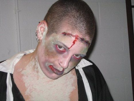 Scary Freaky Living Dead! .  Create a face painting in under 30 minutes by applying makeup and applying makeup with make up, sponge, and fake blood. Inspired by halloween, zombies, and costumes & cosplay. Creation posted by Kumquat. Difficulty: Simple. Cost: Cheap.
