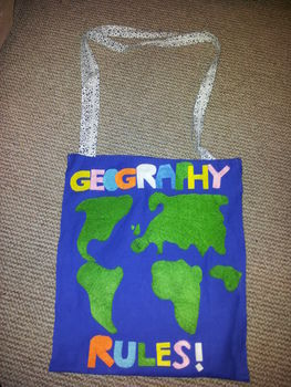 I made this book bag for a geography student! :)  .  Sew an applique tote in under 120 minutes by not sewing with fabric, thread, and needle and thread. Inspired by crafts, geeky, and nerds. Creation posted by Hayley S. Difficulty: Easy. Cost: Cheap.