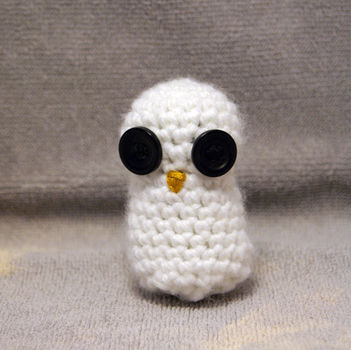 A cute little owl made to be put on a key chain. .  Make a bird plushie in under 45 minutes by embroidering and crocheting with yarn, buttons, and embroidery thread. Inspired by kawaii, owls, and owls. Creation posted by Alecka. Difficulty: Easy. Cost: Cheap.