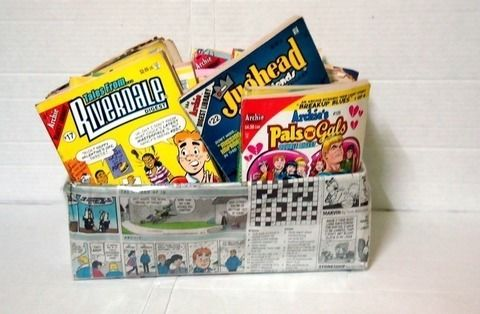 Cute way to display/store comics! .  Make a decoupage box in under 40 minutes using scissors, glue, and newspaper. Creation posted by Kriti. Difficulty: Easy. Cost: Absolutley free.