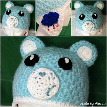 A version of my 'moody bears' This one is grumpy.  .  Make an animal hat in under 120 minutes by embroidering, crocheting, and amigurumi with yarn and embroidery floss. Inspired by creatures, kawaii, and bears. Creation posted by Alecka. Difficulty: Easy. Cost: 3/5.
