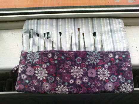 On the go!!   {Can also be used for pens/pencils!} .  Sew a roll-up pouch in under 60 minutes by sewing with fabric. Inspired by clothes & accessories. Creation posted by Julie G. Difficulty: Easy. Cost: Absolutley free.