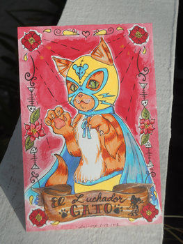 Ink slinger .  Make a greetings card in under 120 minutes by creating, drawing, and decorating with paper and watercolor paint. Inspired by cats, creatures, and vintage & retro. Creation posted by Cyanide Sweetheart. Difficulty: 4/5. Cost: 3/5.