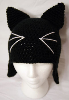 A basic hat with cat ears & whiskers  .  Make an animal hat in under 60 minutes by crocheting with yarn. Inspired by halloween, cats, and cats. Creation posted by Alecka. Difficulty: Simple. Cost: Absolutley free.