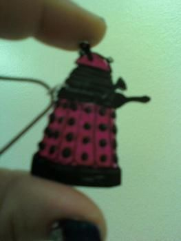 A PINK Dalek!!!  .  Make a shrink plastic pendant in under 60 minutes by creating, drawing, and jewelrymaking with jump rings, spray paint, and oven. Inspired by dr who and daleks. Creation posted by Amanda B. Difficulty: Easy. Cost: 3/5.