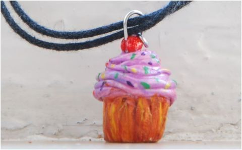 Yum yum cupcake necklace .  Sculpt a clay food necklace in under 40 minutes by potting with polymer clay. Inspired by clothes & accessories. Creation posted by vasilena s. Difficulty: Easy. Cost: No cost.