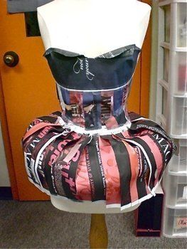 Magazine Dress .  Recycle a paper dress by creating, constructing, papercrafting, and paper folding with newspaper and clear tape. Inspired by clothes & accessories. Creation posted by ElizsaC E. Difficulty: 5/5. Cost: Cheap.