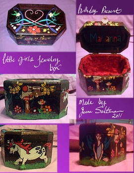 Hand-stained and painted little girls jewelry box .  Make a box in under 180 minutes by drawing, decorating, and embellishing with scissors, acrylic paint, and hot glue gun. Inspired by kids, fairies, and fairytale. Creation posted by Jenna L. Difficulty: 4/5. Cost: 3/5.