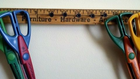 Wall storage for scrapbook scissors .  Make a hook or rack in under 50 minutes by constructing and woodworking with wood, drill, and screws. Creation posted by Heather B. Difficulty: Easy. Cost: No cost.