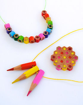 DIY: Colored Pencil Jewelry .  Free tutorial with pictures on how to make a recycled necklace in under 30 minutes by jewelrymaking with thread, super glue, and colored pencil. How To posted by Kate L. Difficulty: Simple. Cost: Cheap. Steps: 8