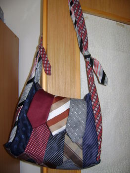 Neck Tie Bag .  Make a neck tie bag by sewing with neck tie. Inspired by clothes & accessories. Creation posted by Shaylee B. Difficulty: 3/5. Cost: Cheap.