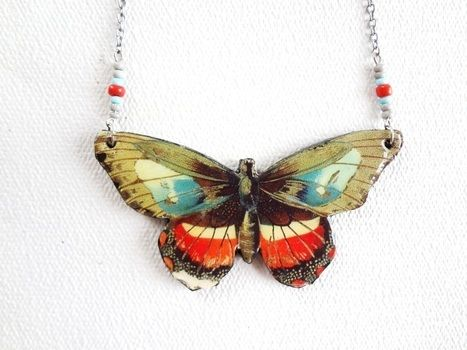 Vintage illustrations :) .  Make a pendant necklace in under 90 minutes by jewelrymaking, decoupaging, decorating, and jewelrymaking with fabric, paper, and acrylic paint. Inspired by butterflies and butterflies. Creation posted by EVEnl. Difficulty: Easy. Cost: 3/5.