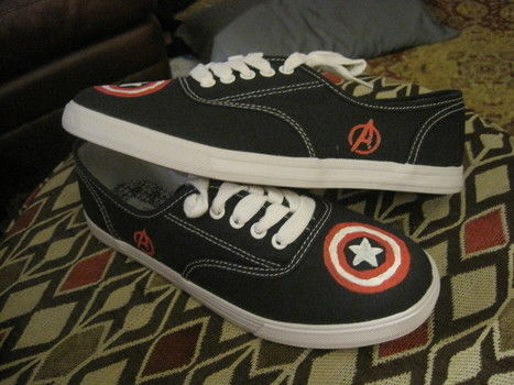 Plain shoes turned into Captain America pride! .  Paint a pair of character shoes in under 30 minutes by decorating with fabric paint and shoes. Inspired by shoes, captain america, and marvel. Creation posted by Rowan. Difficulty: Simple. Cost: Absolutley free.