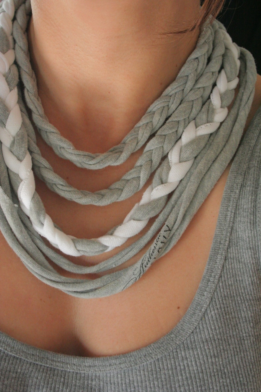 Braided T Shirt Necklace 183 A Braided Fabric Necklace