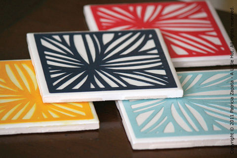 How to make a coaster set .  Free tutorial with pictures on how to make a tile coaster in under 30 minutes by decorating with felt, paper, and decoupage glue. How To posted by Patricia Z. Difficulty: Easy. Cost: Cheap. Steps: 5