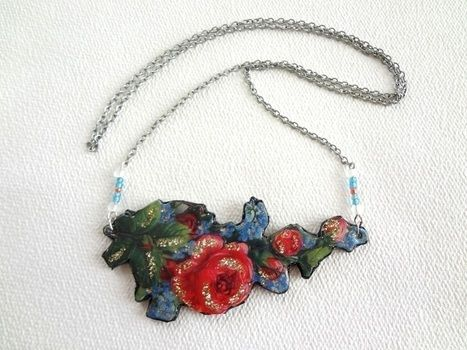 Chic necklace made with basic materials! .  Free tutorial with pictures on how to make a floral pendant in under 30 minutes by decoupaging with fabric, acrylic paint, and chain. Inspired by vintage & retro, flowers, and victorian. How To posted by EVEnl. Difficulty: Easy. Cost: 3/5. Steps: 9