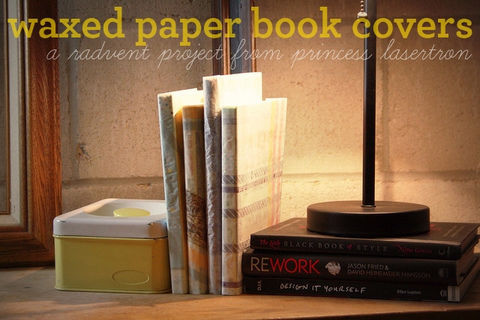 Waxed paper book covers: a radvent tutorial! .  Free tutorial with pictures on how to make a paper book cover in under 30 minutes by papercrafting with scissors, pencil, and glitter. How To posted by Princess Lasertron. Difficulty: Simple. Cost: Absolutley free. Steps: 14