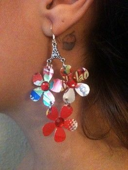 Aluminum can trendy earrings .  Make a pair of recycled earrings in under 60 minutes by embellishing, jewelrymaking, and metalworking with jump rings, white glue, and rhinestones. Inspired by clothes & accessories. Creation posted by Bohemian Tragedeez. Difficulty: Easy. Cost: Cheap.