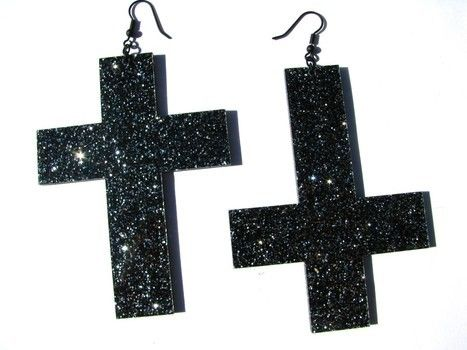Huge sparkly black cross and coffin earrings!  .  Make a pair of cross earrings in under 180 minutes by creating, constructing, embellishing, and jewelrymaking with earring hooks, pliers, and super glue. Inspired by gothic, kawaii, and audrey kitching. Creation posted by cut6andcr66py. Difficulty: 3/5. Cost: 3/5.