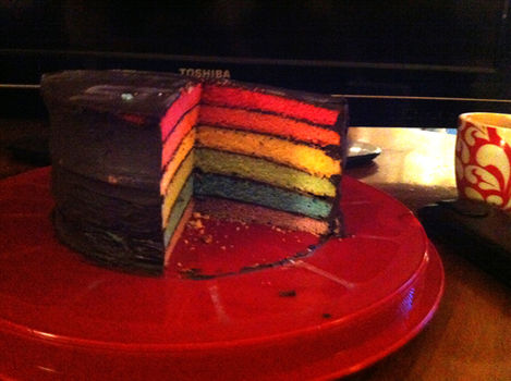 .  Bake a rainbow cake by baking and decorating food Version posted by Makani V. Difficulty: 3/5. Cost: Cheap.