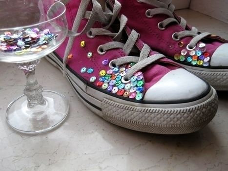 People will call you crazy, but who cares.. .  Embellish a pair of sequin shoes in under 30 minutes using hot glue gun, shoes, and sequins. Inspired by kawaii, converse, and clothes & accessories. Creation posted by Anna H. Difficulty: Easy. Cost: Absolutley free.