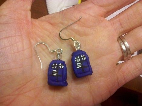 Bigger on the inside.... .  Sculpt a set of clay character earrings in under 30 minutes by baking, molding, and decorating with polymer clay, earring hooks, and eye pins. Inspired by dr who and tardis. Creation posted by GryffindorGrl. Difficulty: Easy. Cost: Absolutley free.
